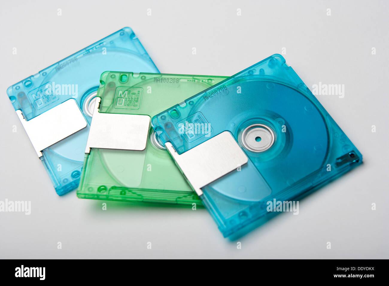 Retro MiniDisc data storage. Stock Photo