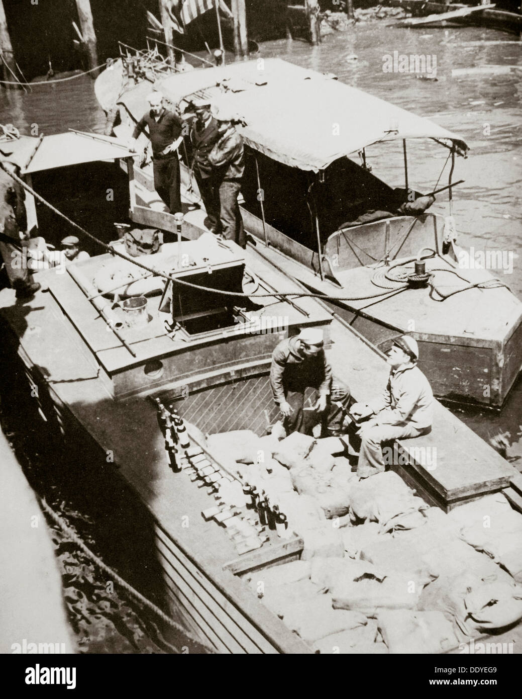 A rum-running boat caught smuggling in 2000 bottles, USA, 1920s. Artist: Unknown Stock Photo