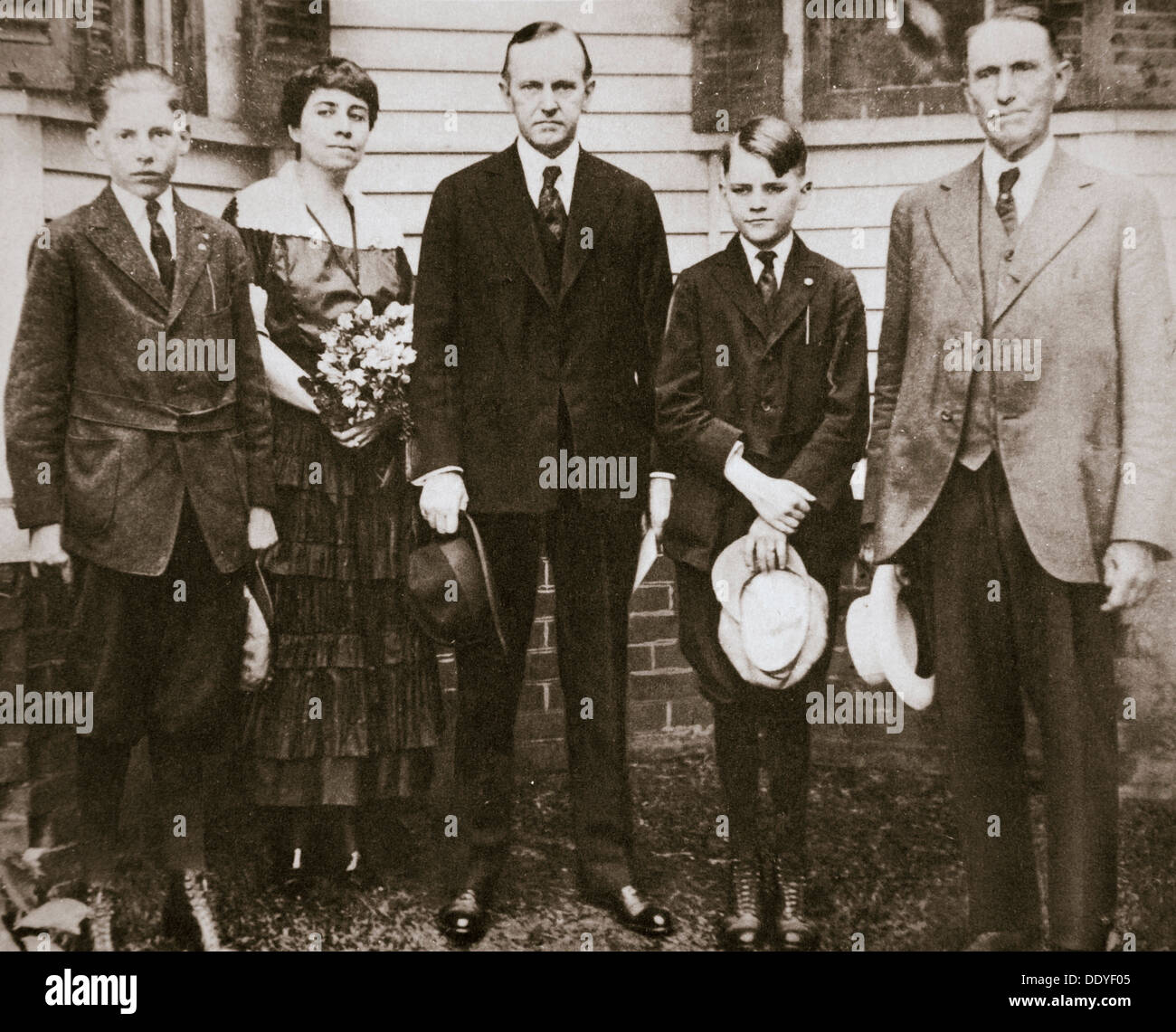 Calvin Coolidge, American politician, with his father, wife, and sons, 1920. Artist: Unknown Stock Photo
