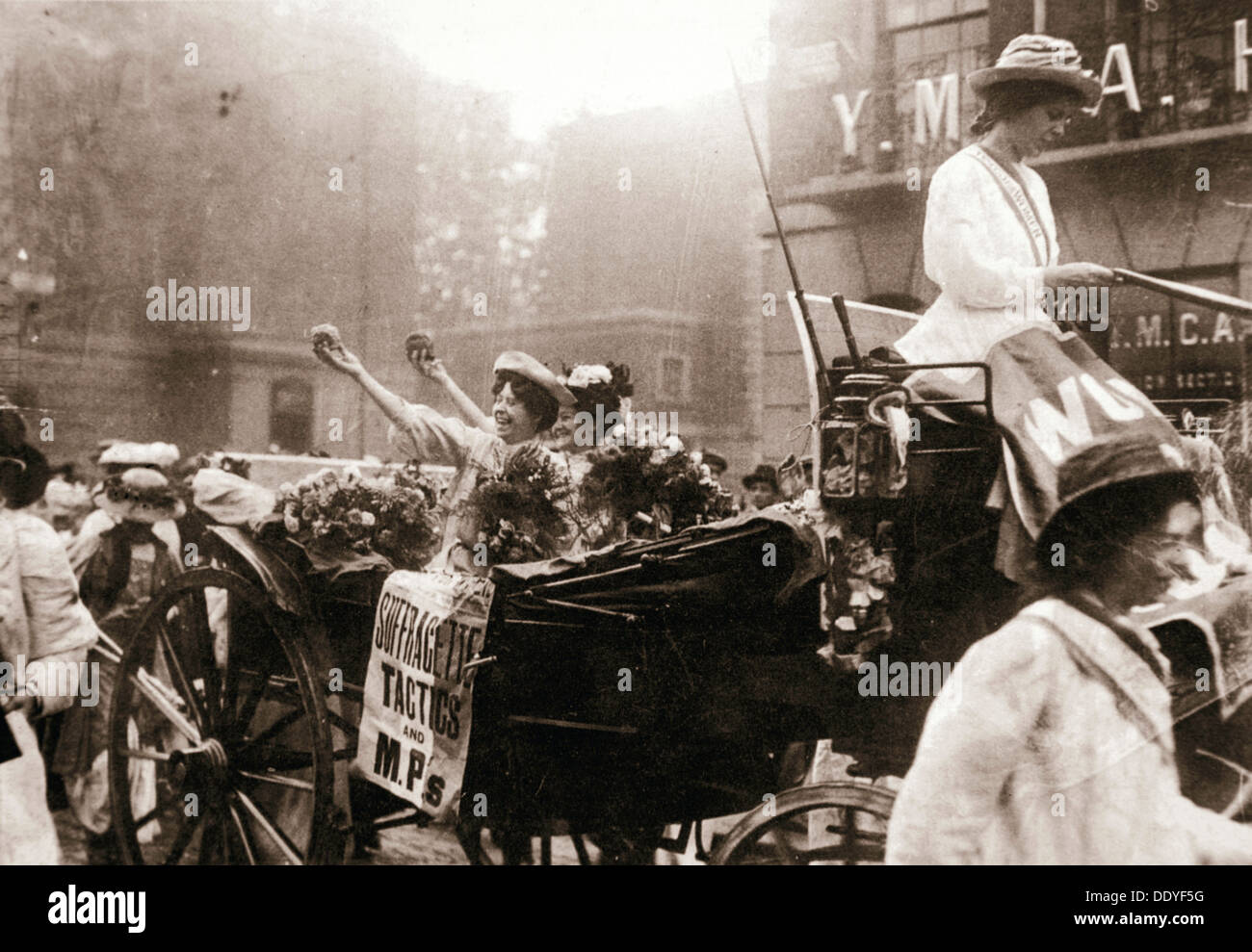 Two suffragettes celebrating their release from Holloway Prison, London, on 22 August 1908. Artist: Unknown Stock Photo