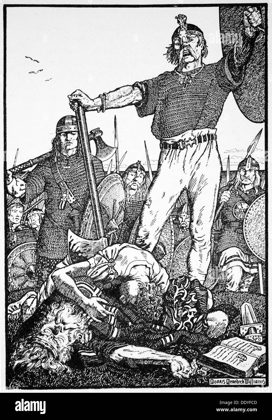 Death of Brian Boru at the Battle of Clontarf, Ireland, 1014 (1913).  Artist: Morris Meredith Williams