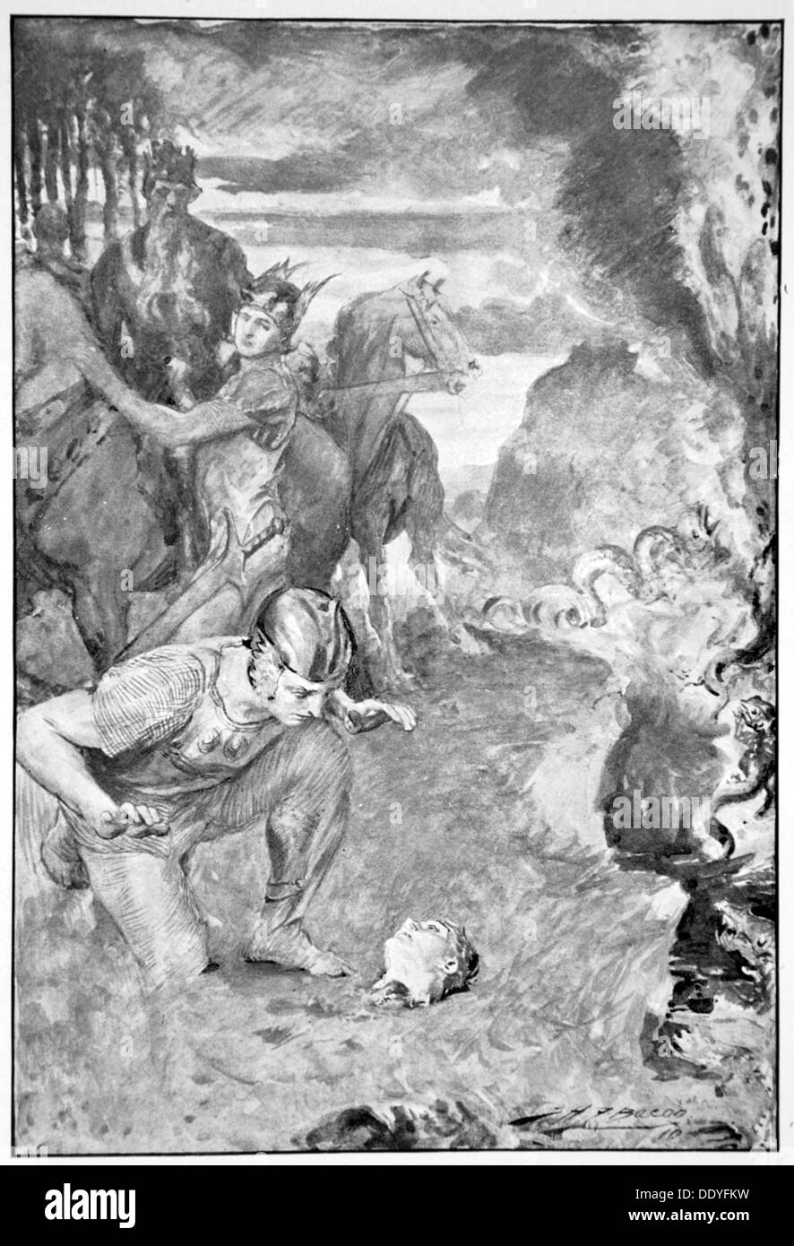 'Beowulf finds the head of Aschere', 1910.  Artist: John Henry Frederick Bacon - Stock Image