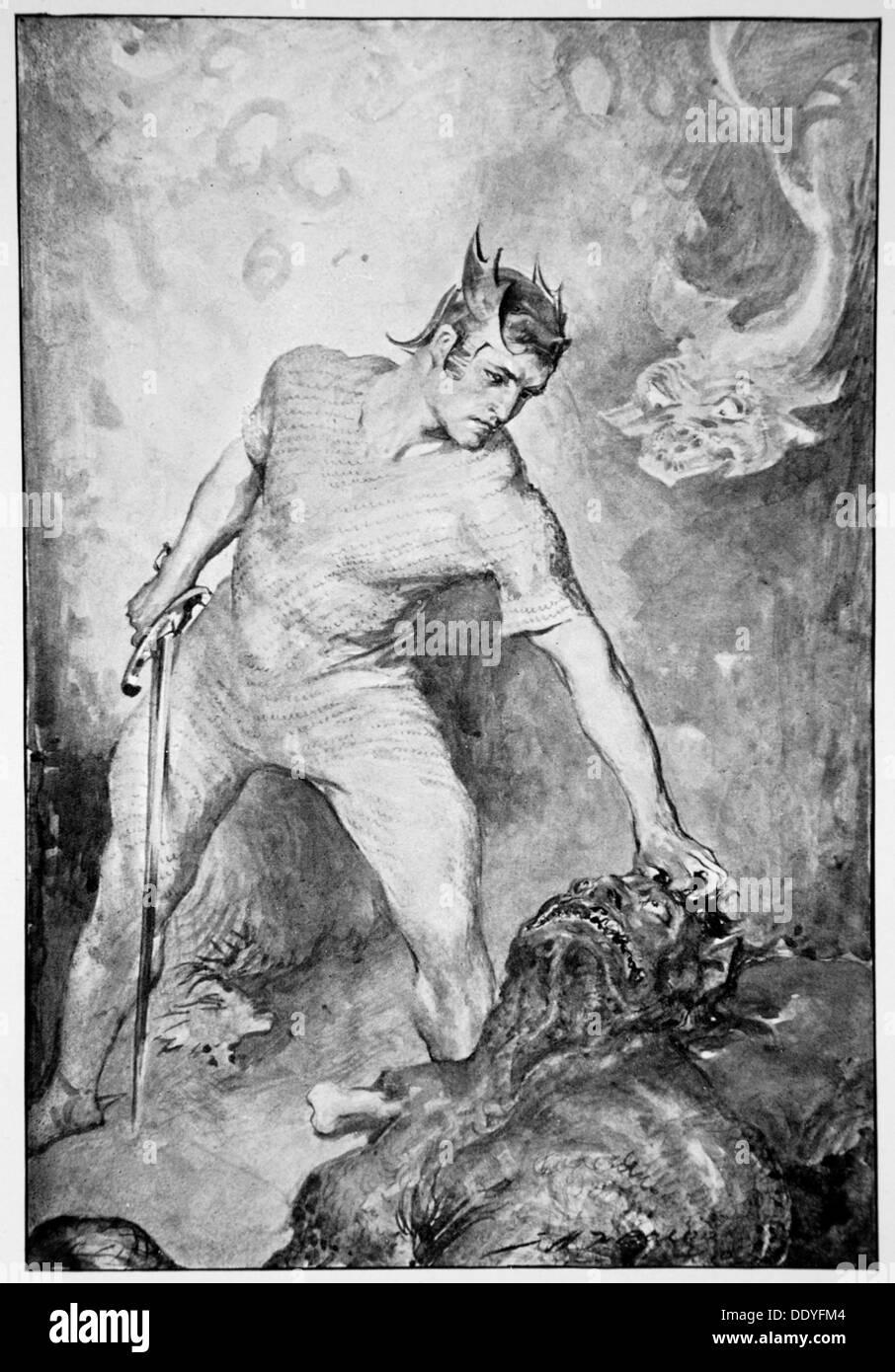 'Beowulf shears off the head of Grendel', 1910.  Artist: John Henry Frederick Bacon - Stock Image