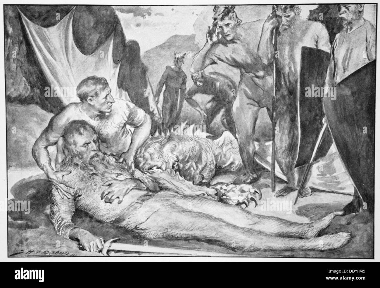 'The Death of Beowulf', 1910.  Artist: John Henry Frederick Bacon - Stock Image