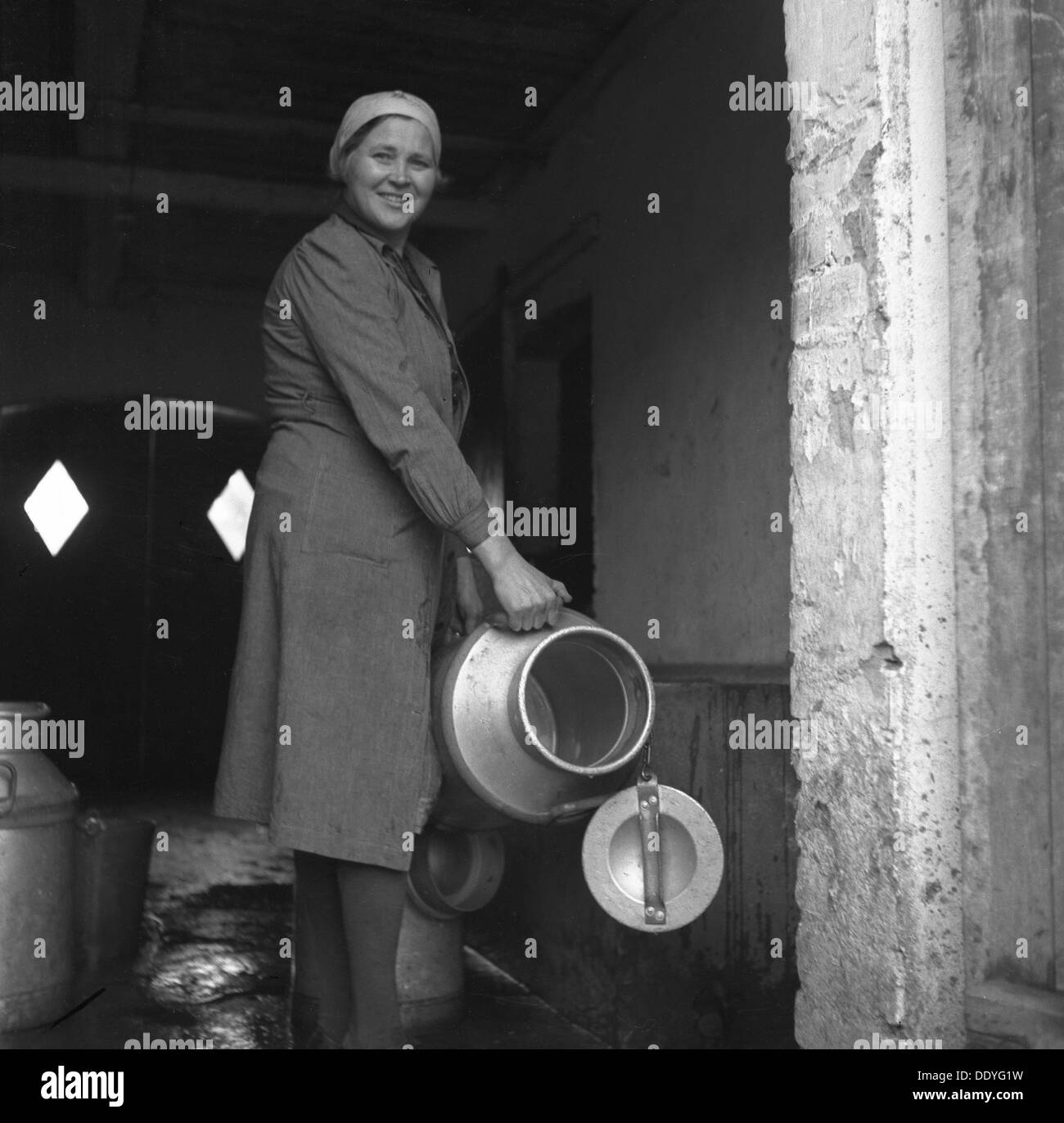 Immigrant farm worker from Estonia in Sweden, 1946. Swedes began to settle in northern and western Estonia in the 13th and 14th centuries. The majority of the Swedish-speaking population of Estonia fled to Sweden during the Second World War. - Stock Image