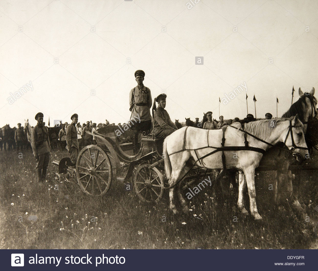 First Cavalry Army tachanka, Russian Civil War, 1919. - Stock Image