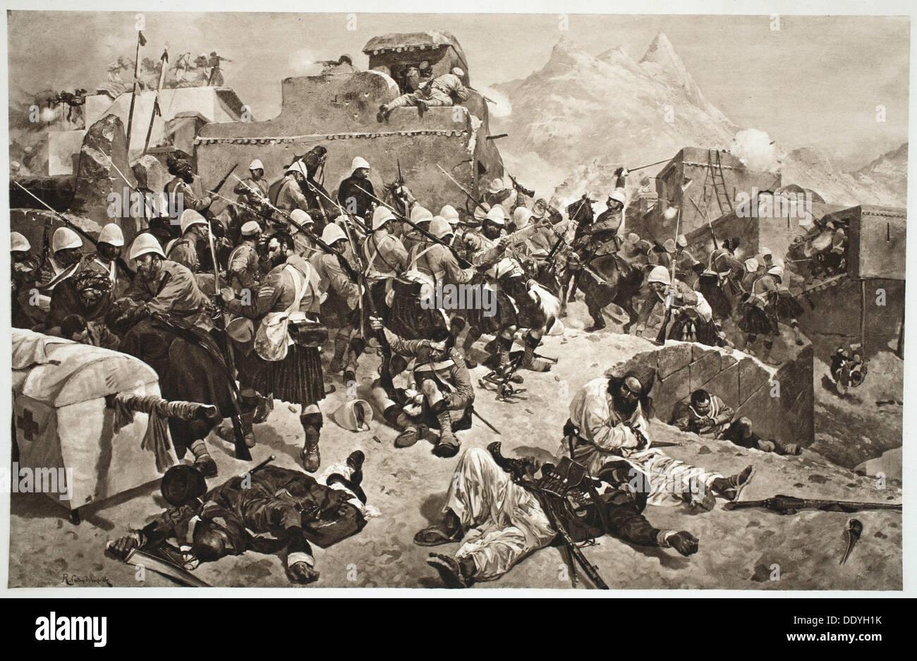 92nd Highlanders and 2nd Gurkhas storming Gaudi Mullah Sahibdad, Afghanistan, 1901. Artist: Unknown - Stock Image