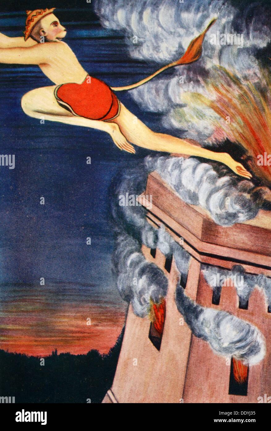 Burning of Lanka, 1913.  Artist: K Venkatappa - Stock Image