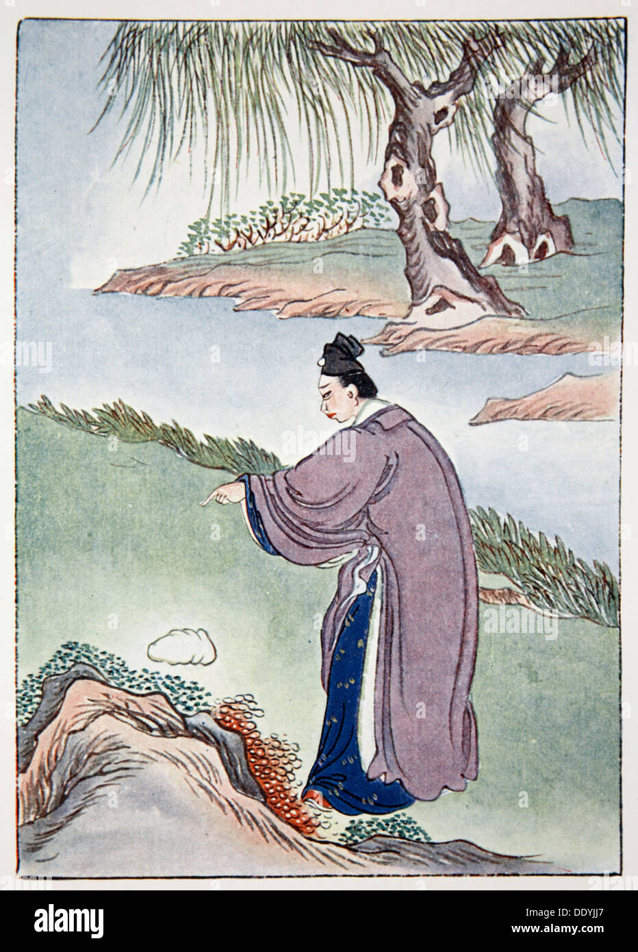 Chia Tzu-Lung finds the stone belonging to Mr Chen the alchemist, 1922. Artist: Unknown - Stock Image
