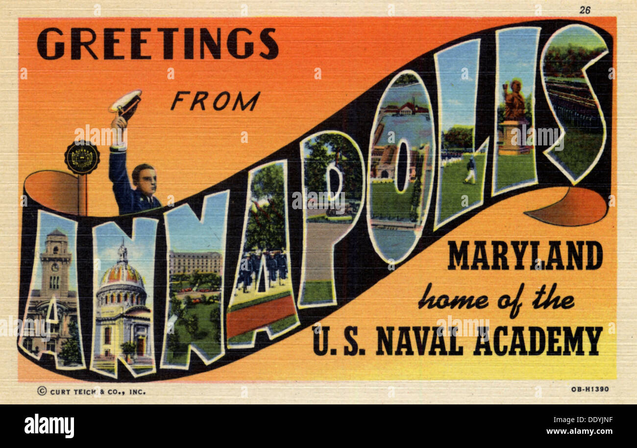Postcard home stock photos postcard home stock images alamy greetings from annapolis maryland home of the us naval academy postcard m4hsunfo