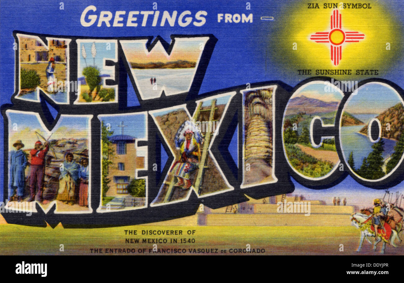 Relatively Greetings from New Mexico', postcard, 1940 Stock Photo: 60229087  CQ38