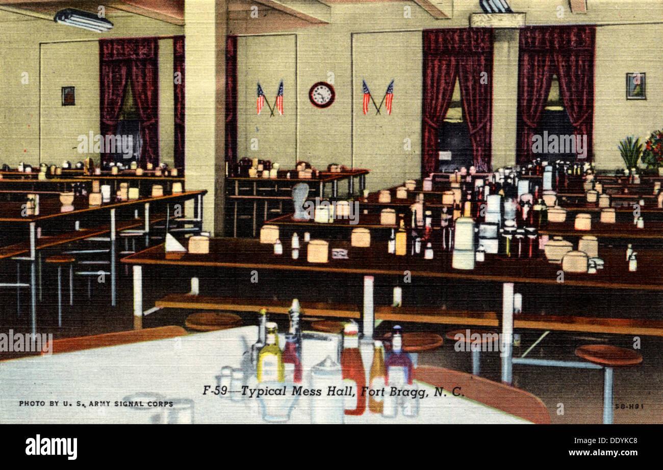 Typical mess hall, Fort Bragg, North Carolina, USA, 1945. Artist: US Army Signal Corps - Stock Image