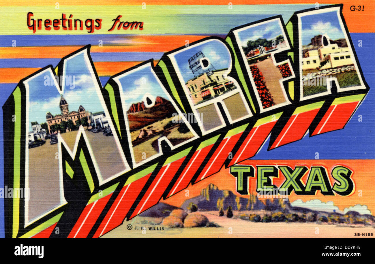 Greetings from texas postcard stock photos greetings from texas greetings from marfa texas postcard 1943 stock image m4hsunfo