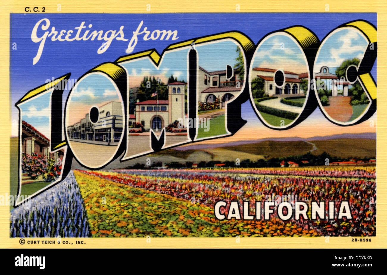 Greetings from lompoc california postcard 1942 stock photo greetings from lompoc california postcard 1942 m4hsunfo