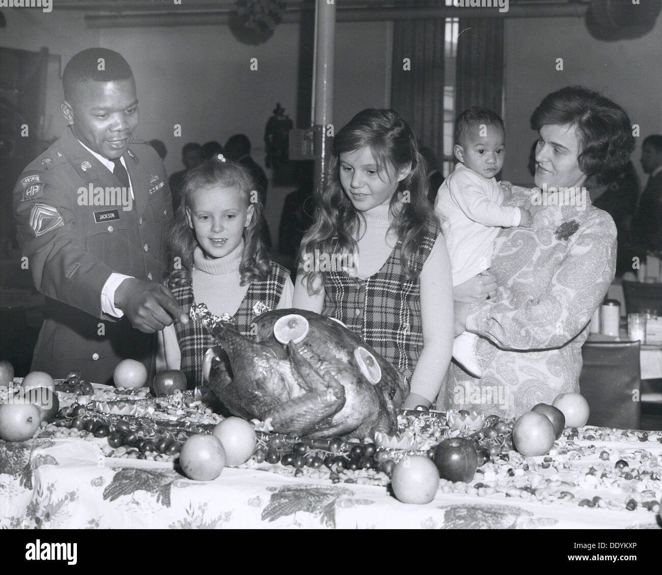 Thanksgiving Day celebrations at the consolidated mess, Fort Sheridan, Illinois, USA, 1969. Artist: SP5 Bond - Stock Image