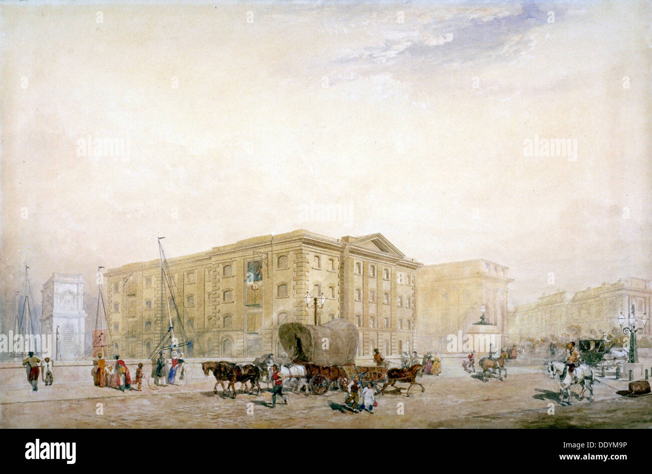 View of the southern end on the new London Bridge and Fenning's Wharf, London, c1835.                Artist: Anon - Stock Image