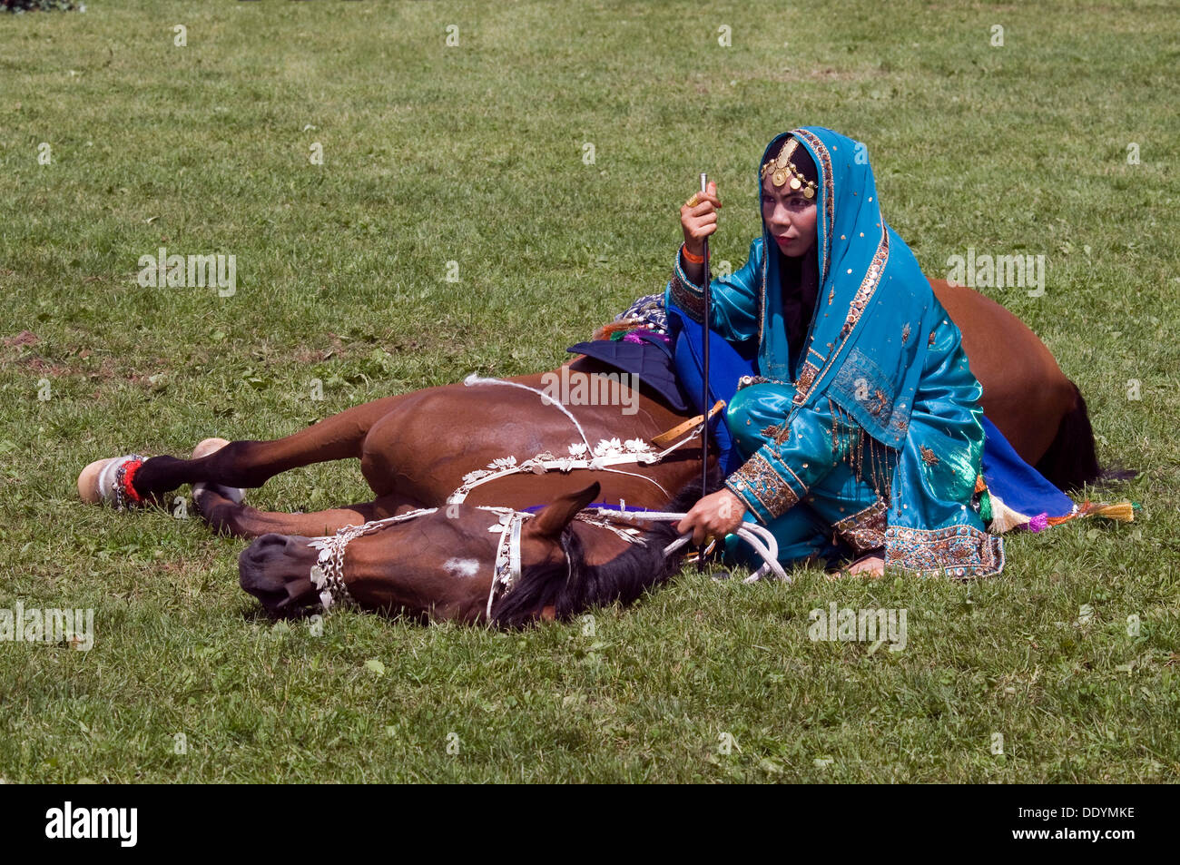 Rider of the Royal Cavalry of Oman at the international horse show, Pferd International Munich, demonstrating the obedience of - Stock Image