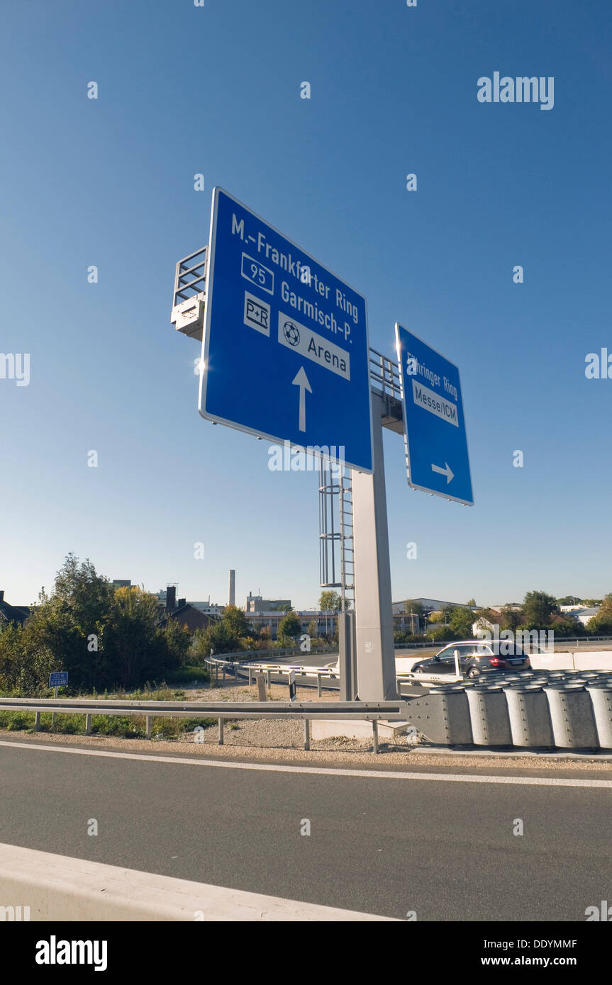 Motorway bridge Munich-North, A9, newly completed construction, signage for the direction of Munich, Munich, Bavaria Stock Photo