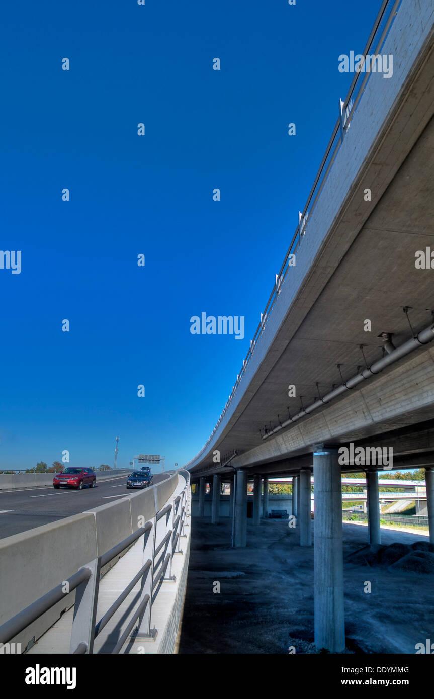 Motorway bridge Munich-North, A9, newly completed after renovation, Munich, Bavaria Stock Photo