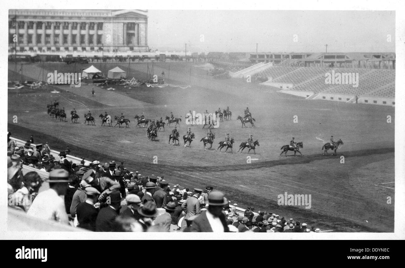Cavalry performing a riding display, Soldier Field, Chicago, Illinois, USA. - Stock Image