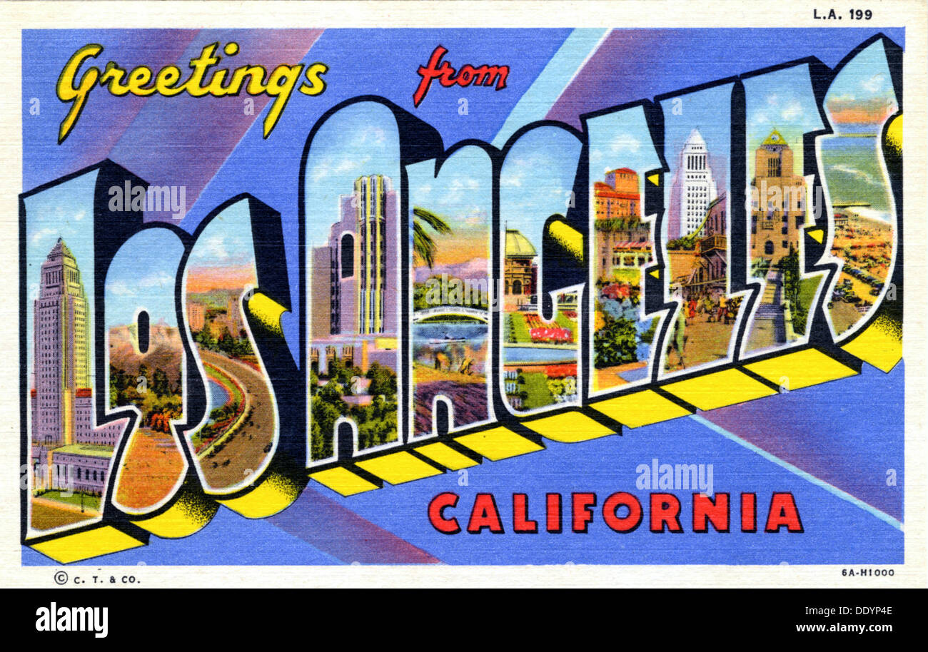 Greetings from los angeles postcard 1936 stock photo 60231710 greetings from los angeles postcard 1936 m4hsunfo Gallery