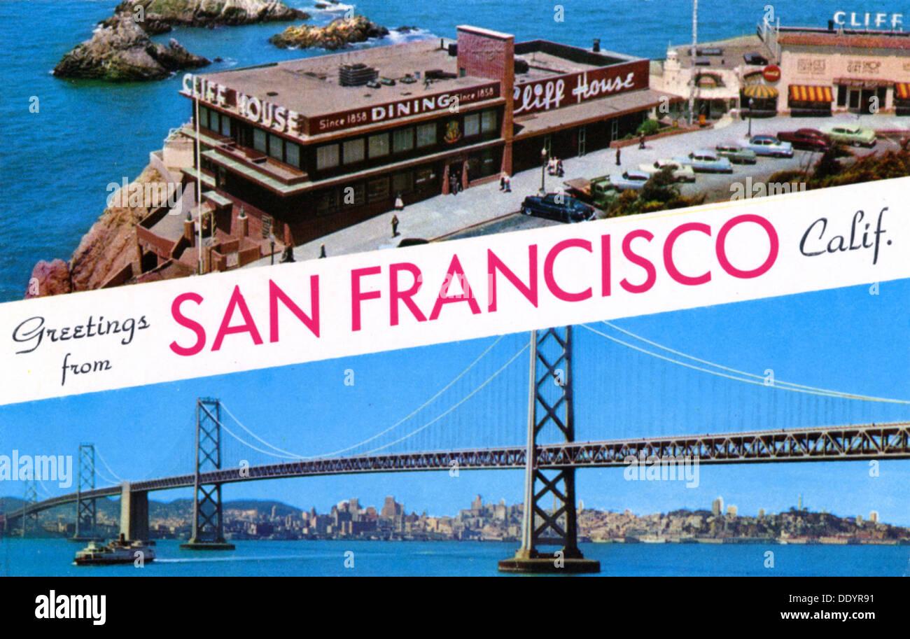 'Greetings from San Francisco, California', postcard, 1957. - Stock Image
