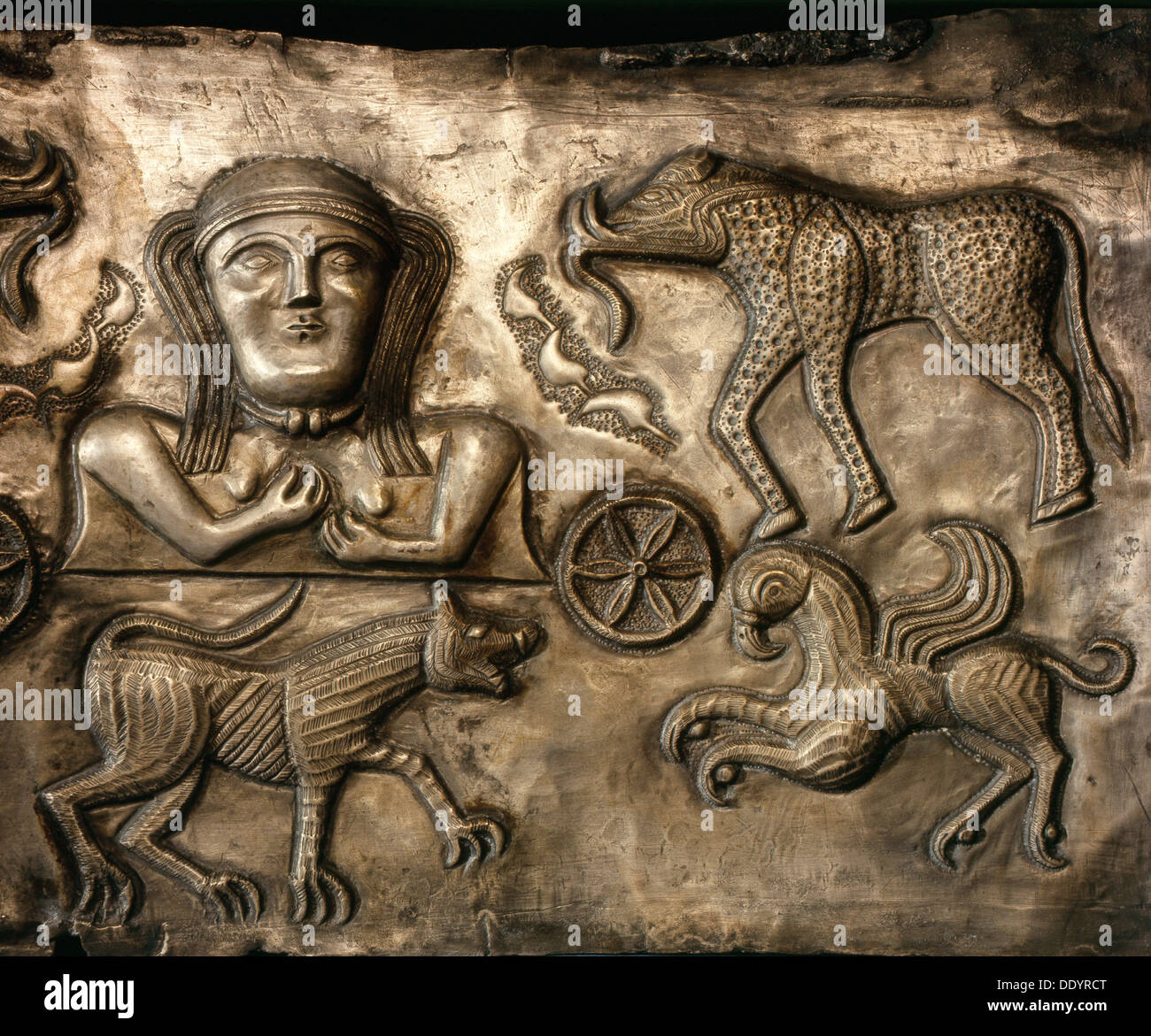 Panel of the Gundestrup cauldron, 2nd or 1st century BC. Artist: Werner Forman - Stock Image
