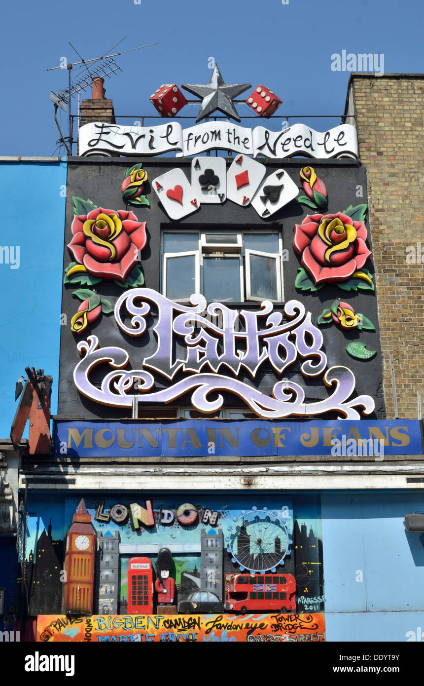 Colourful and elaborate shop front in Camden Town, London, UK. - Stock Image