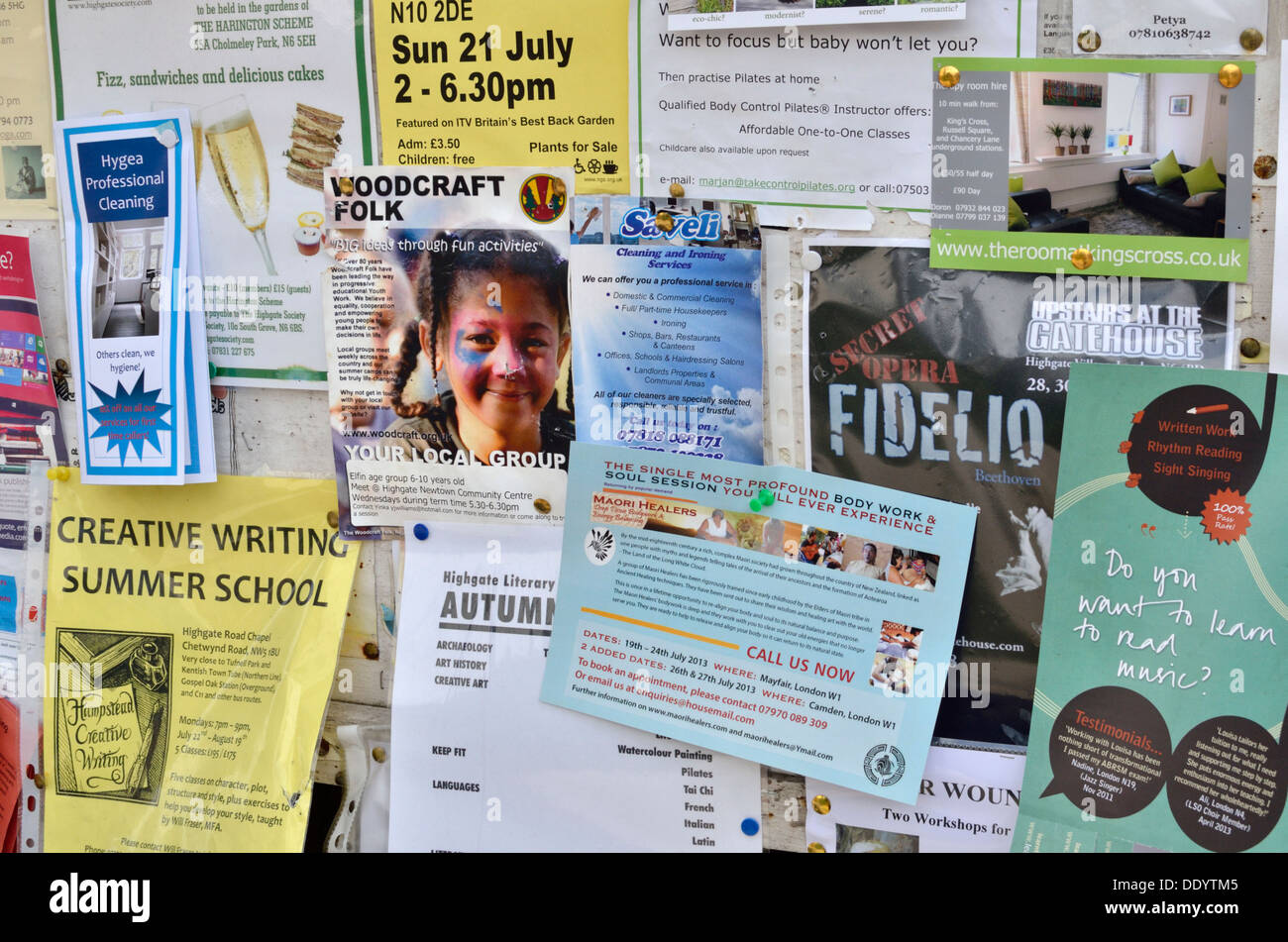 London local community notice board - Stock Image