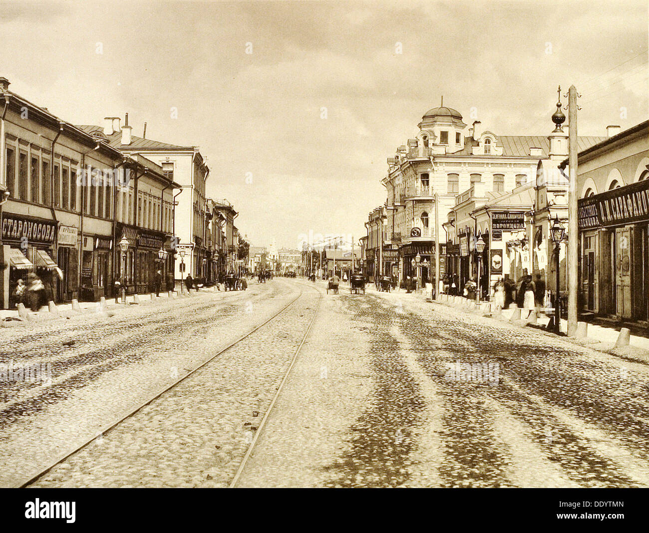 View of the Arbat Street from the Church of the Life-Giving Trinity, Moscow, Russia, 1888. - Stock Image