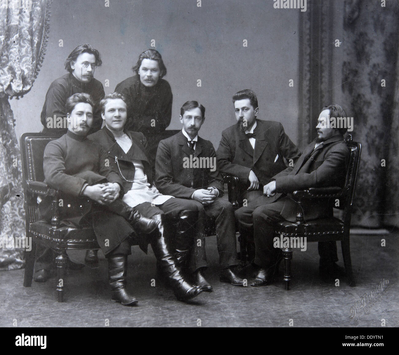Russian author Maxim Gorky in the Sreda (Wednesday) literature group, 1902. - Stock Image