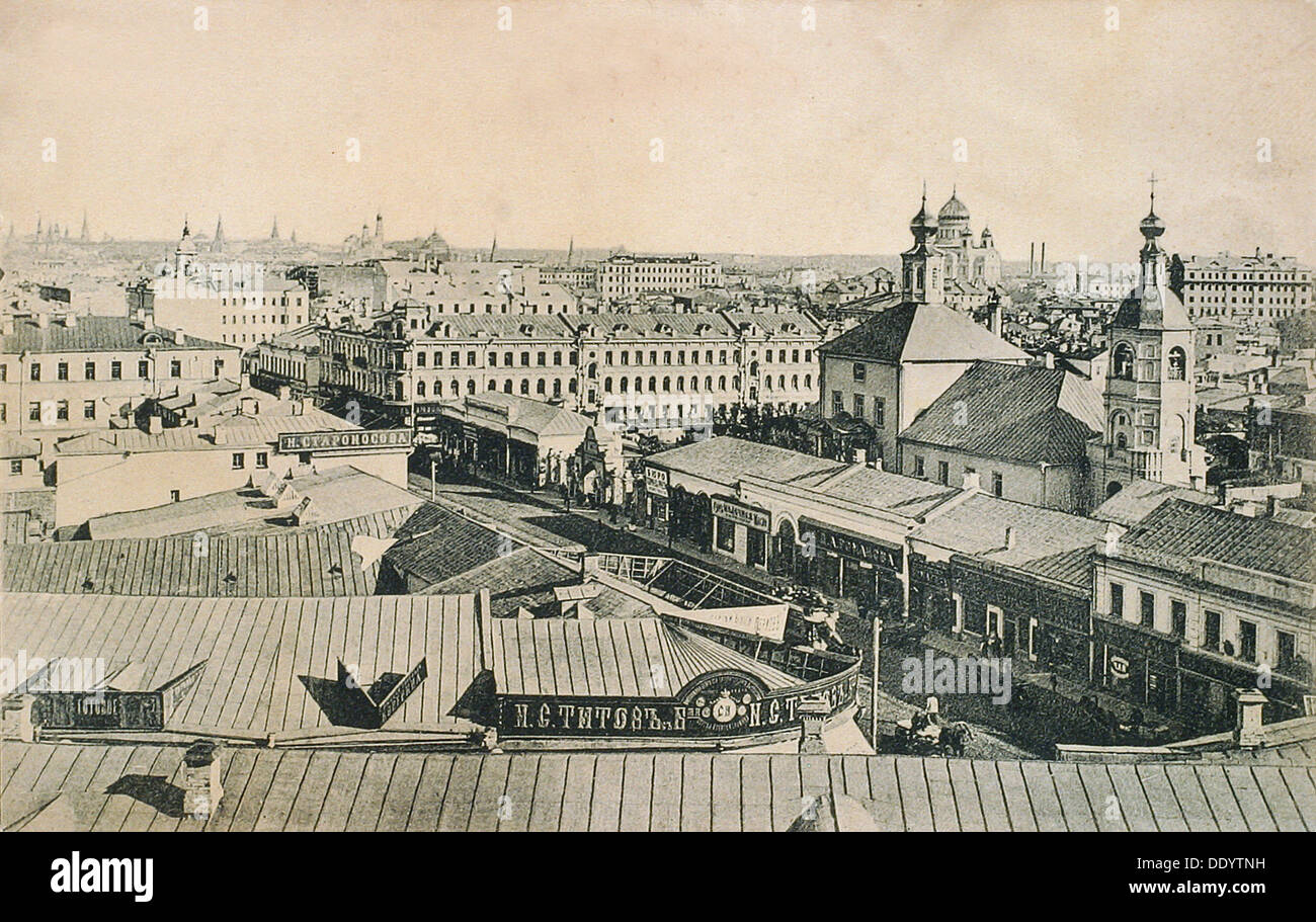 View of the Arbat in Moscow, Russia, late 19th or early 20th century. - Stock Image