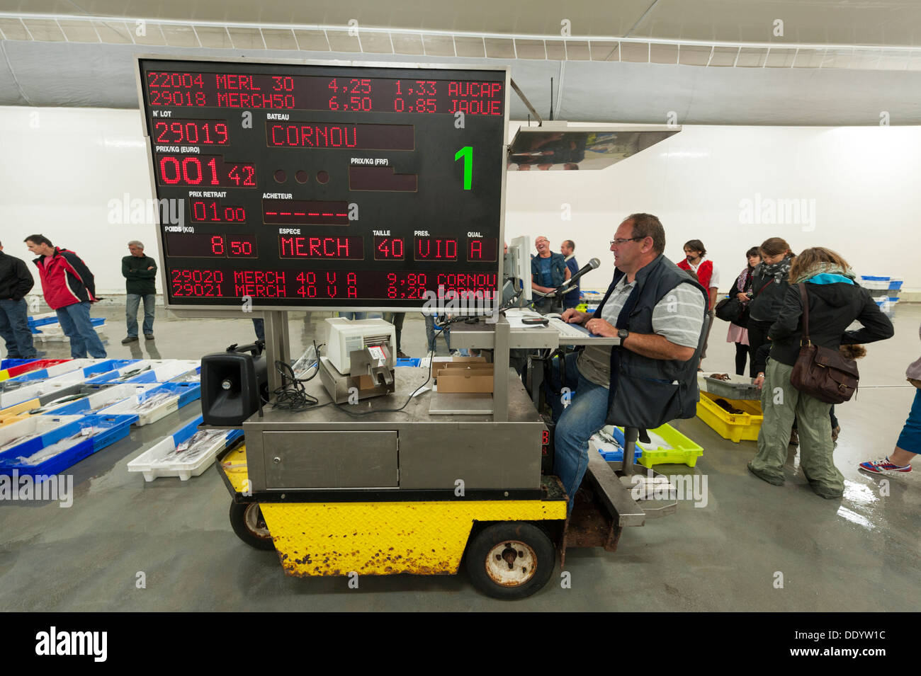 The fish market and auction or Crier at Concarneau Brittany France - Stock Image