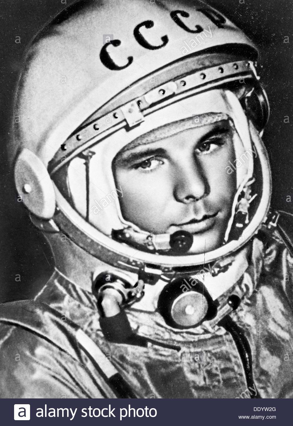 Yuri Gagarin, Russian cosmonaut, 1961. Artist: Anon - Stock Image