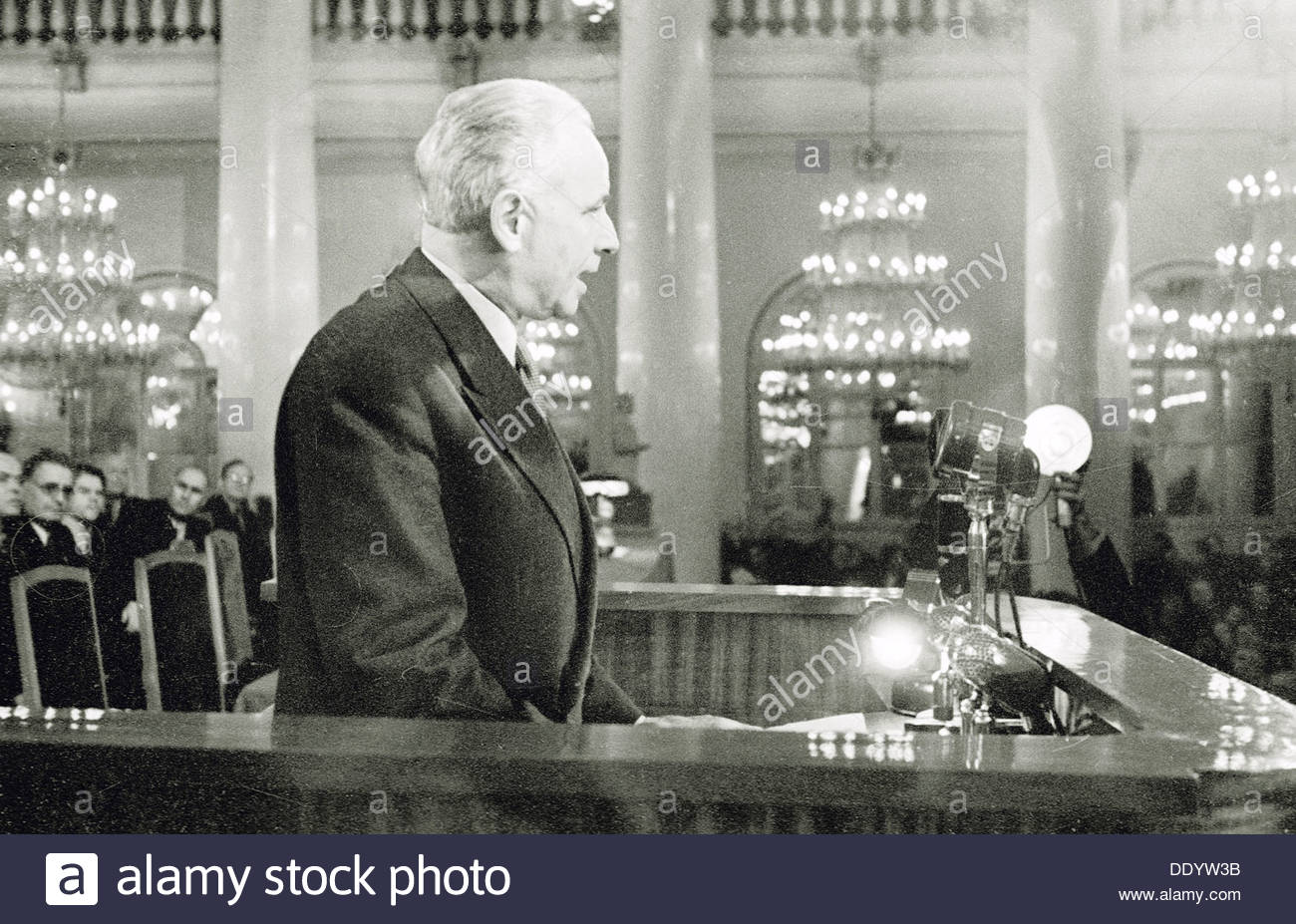 Louis Aragon, French poet and novelist, Moscow, USSR, 1954. Artist: Anon - Stock Image