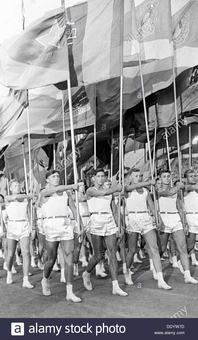 Sport parade in Moscow's Red Square, USSR, 1930s. - Stock Image