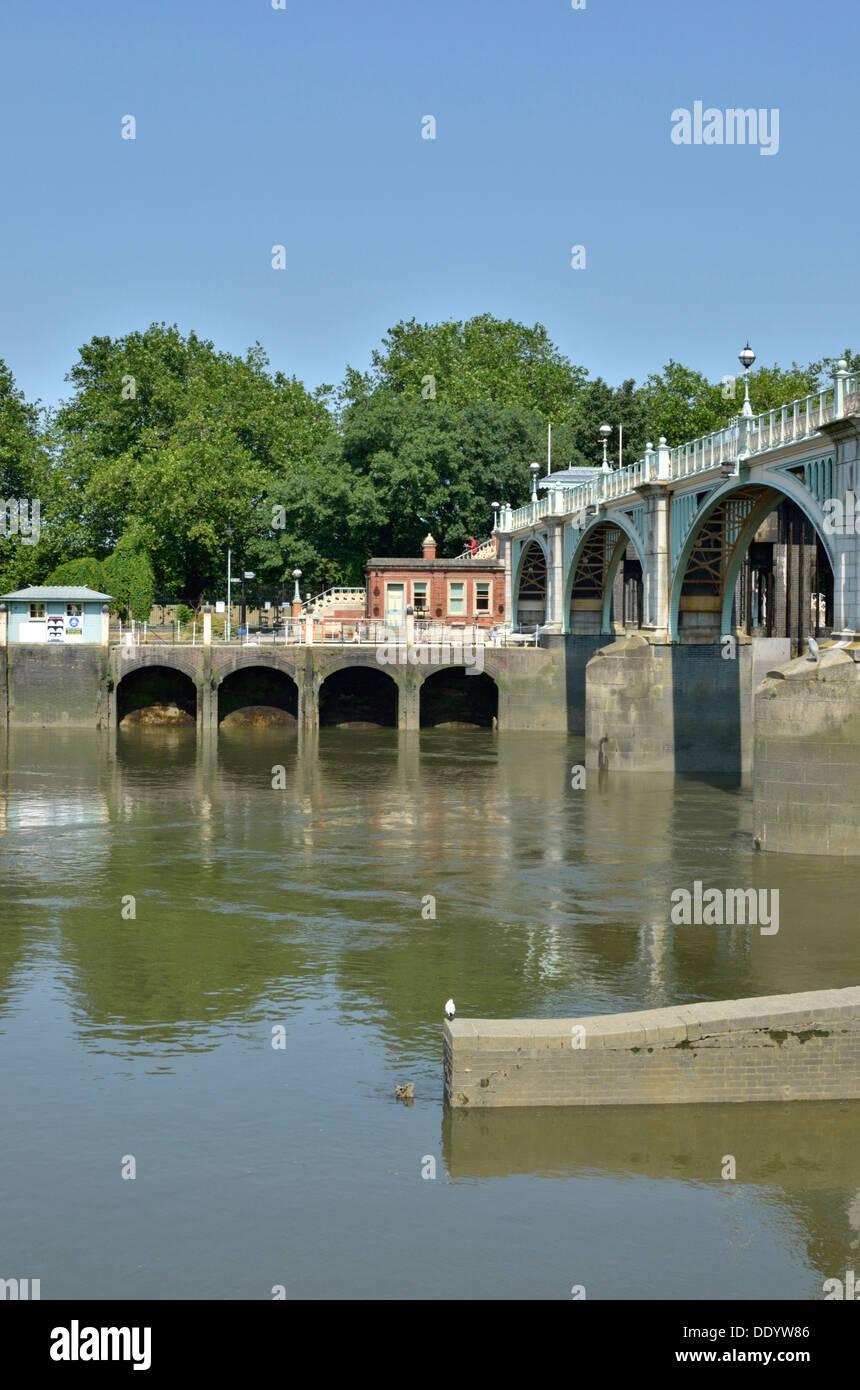 Richmond Lock and Weir, Twickenham, London, UK. Stock Photo