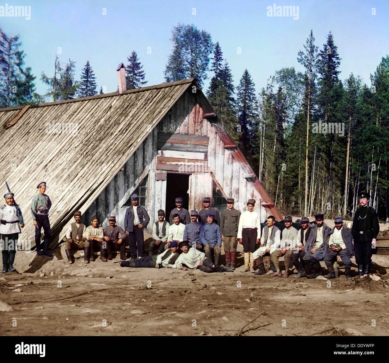 Austro-Hungarian prisoners of war near a barracks, Karelia, Russia, WWI, 1915.  Artist: Sergey Mikhaylovich Prokudin-Gorsky - Stock Image