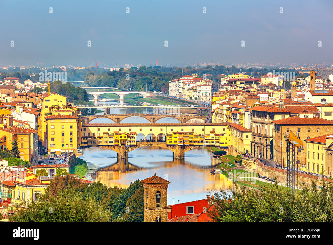 Bridges over Arno river in Florence - Stock Image