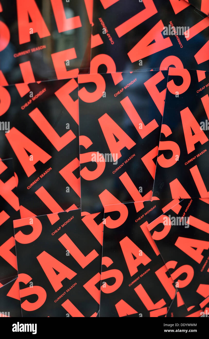 Collage of red and black sale signs - Stock Image