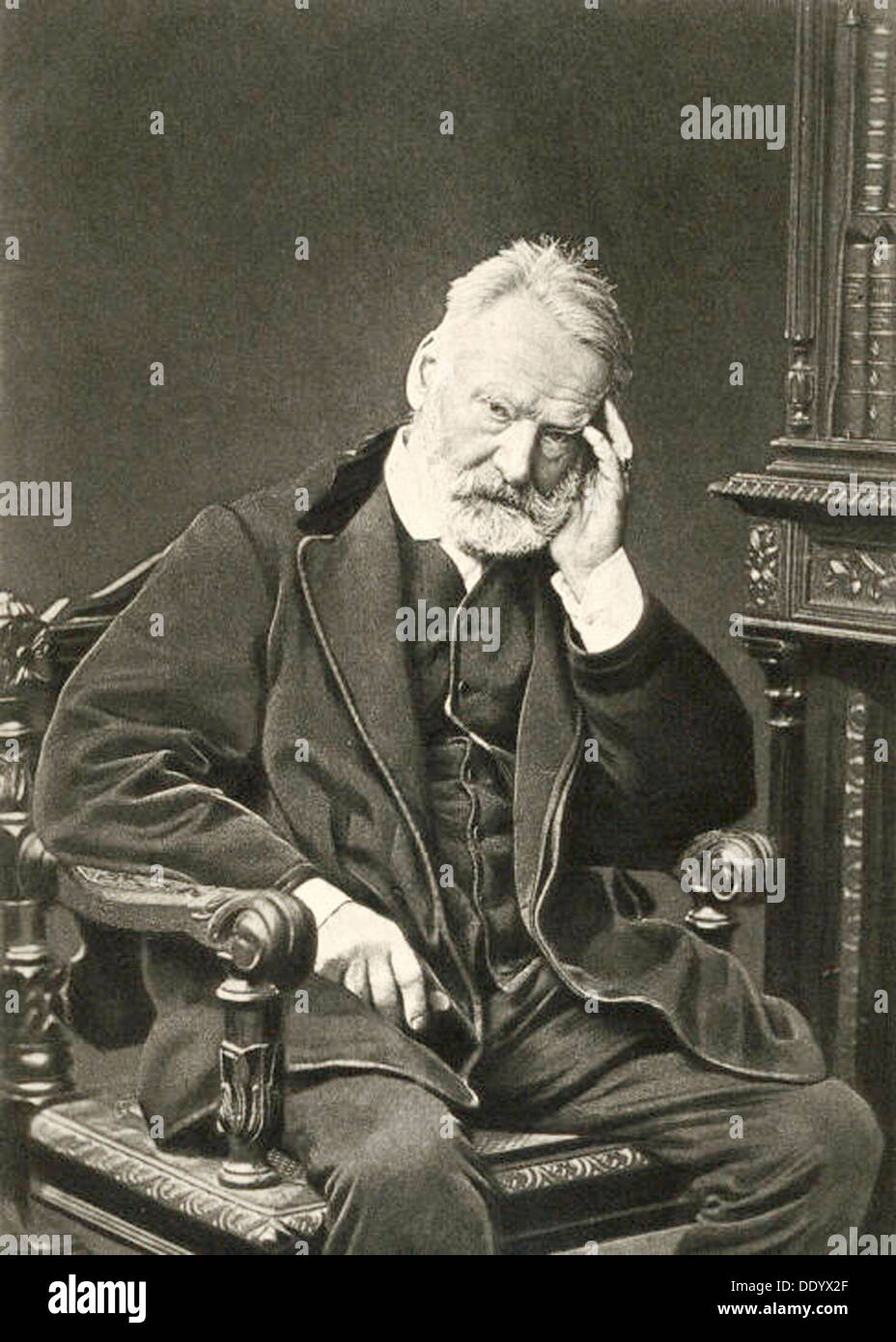 Victor Hugo, French author, 1879. Artist: Count Stanislaw Walery - Stock Image