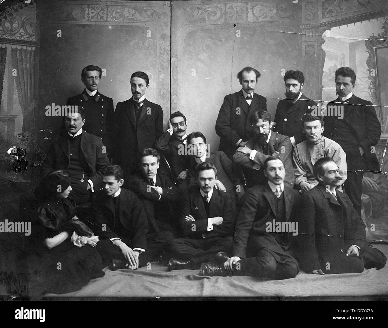 Russian author and poet Andrei Bely with symbolist authors, 1907. - Stock Image
