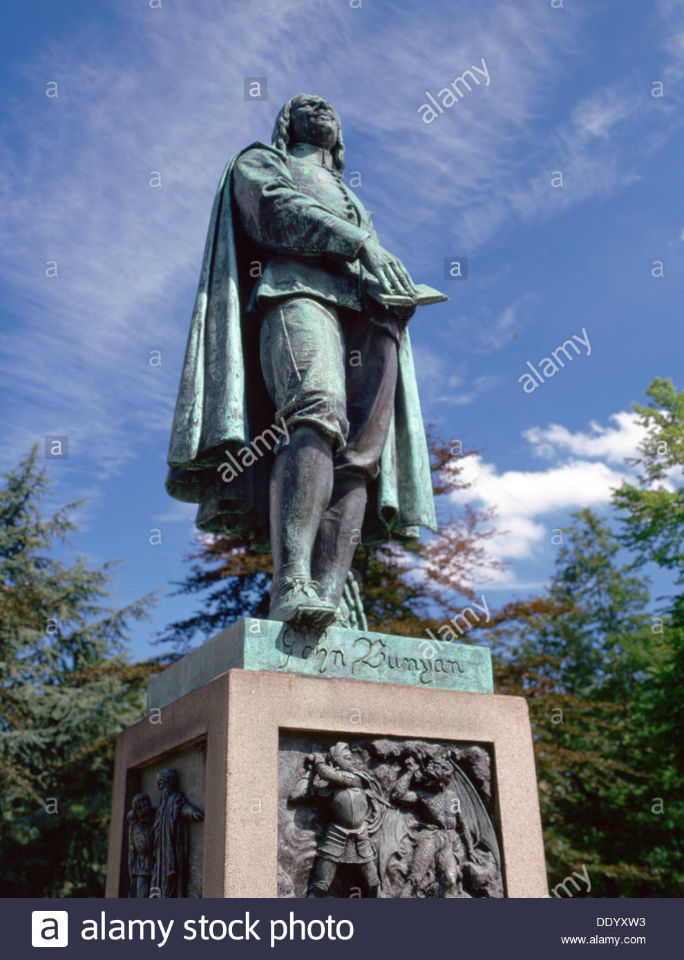 Statue of John Bunyan, English Christian preacher and writer, Bedford, Bedfordshire.  Artist: R Pilgrim - Stock Image