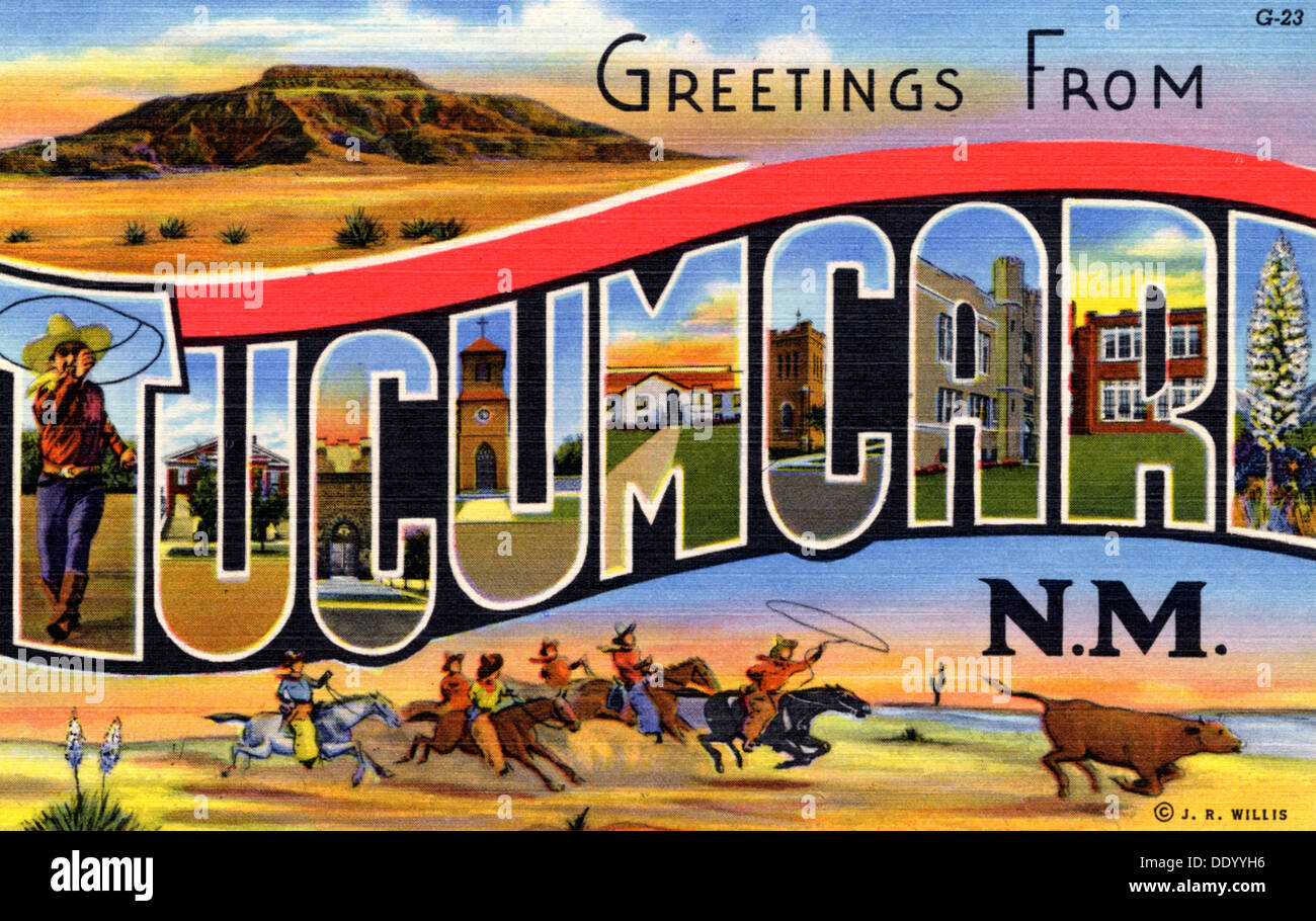 Popular Greetings from Tucumcari, New Mexico', postcard, 1939 Stock Photo  KG44