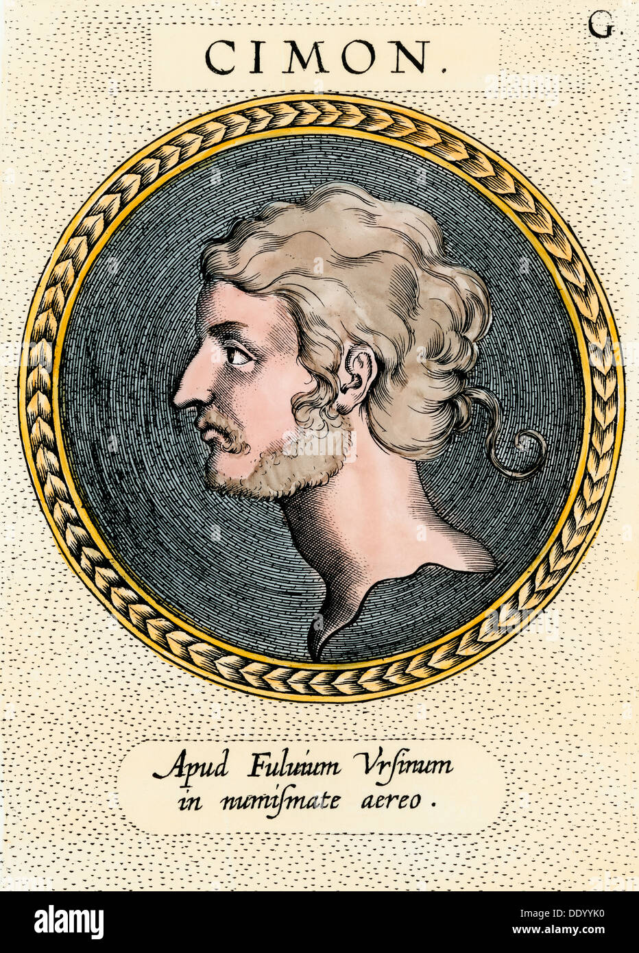 Cimon, general and naval commander of ancient Athens. Hand-colored etching - Stock Image