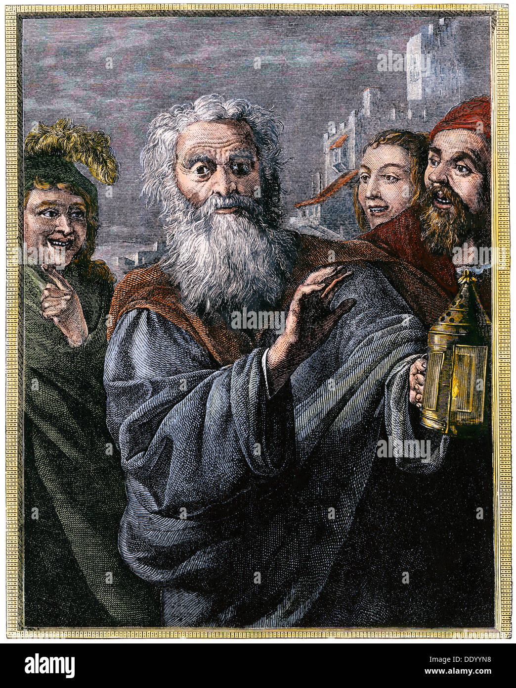 Diogenes in search of an honest man, ancient Greece. Hand-colored woodcut - Stock Image