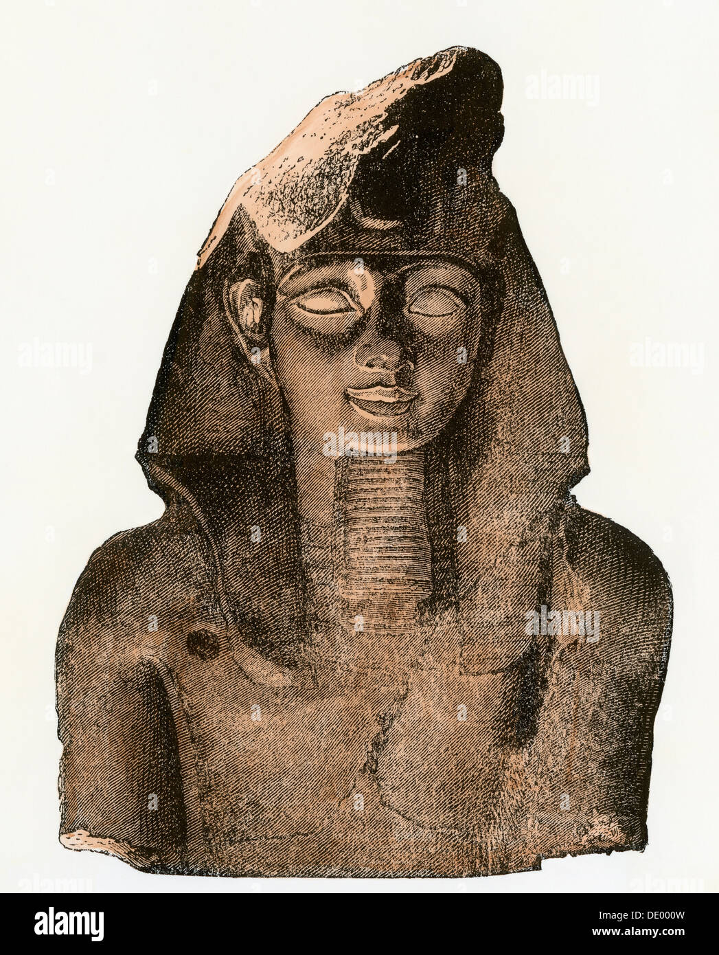Bust of Pharaoh Ramses II, 13th century BC. Hand-colored woodcut - Stock Image
