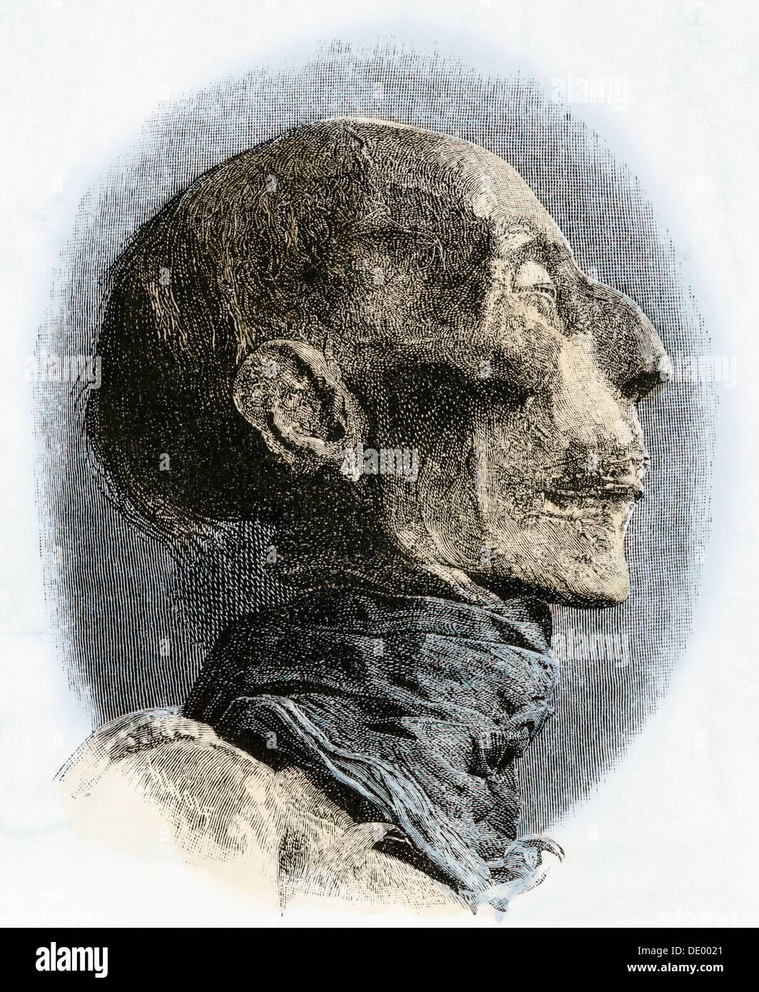 Profile of Ramses II mummy, excavated in the late 1800s. Hand-colored woodcut - Stock Image