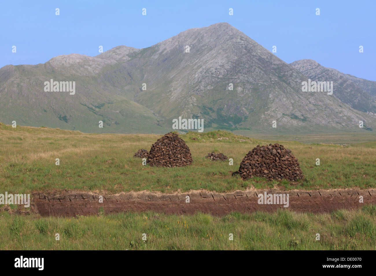 Stacks of peat (turf) in the Maumturk Mountains (County Galway) in the Connemara in Ireland - Stock Image