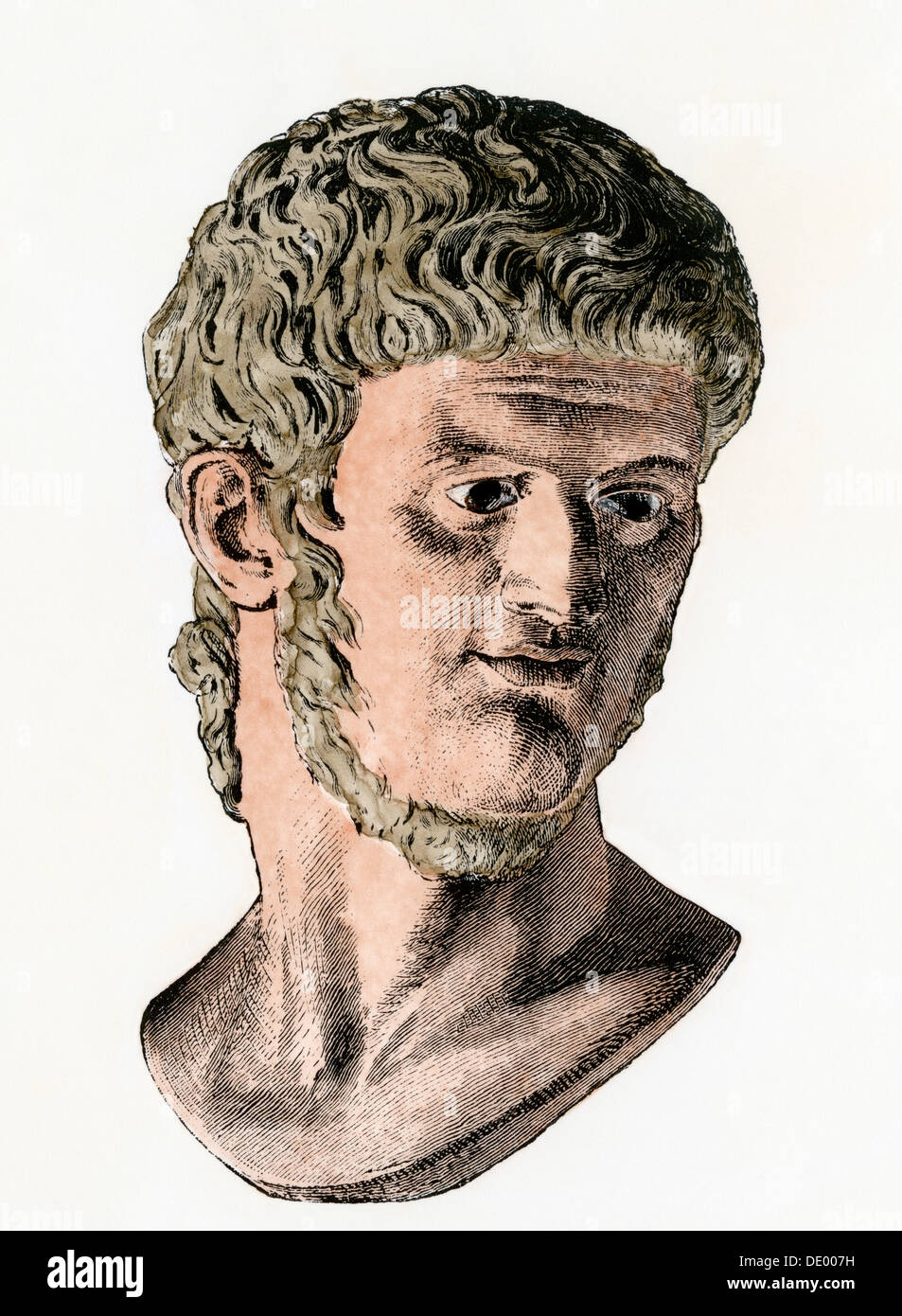 Roman Emperor Nero as a young man. Hand-colored woodcut - Stock Image